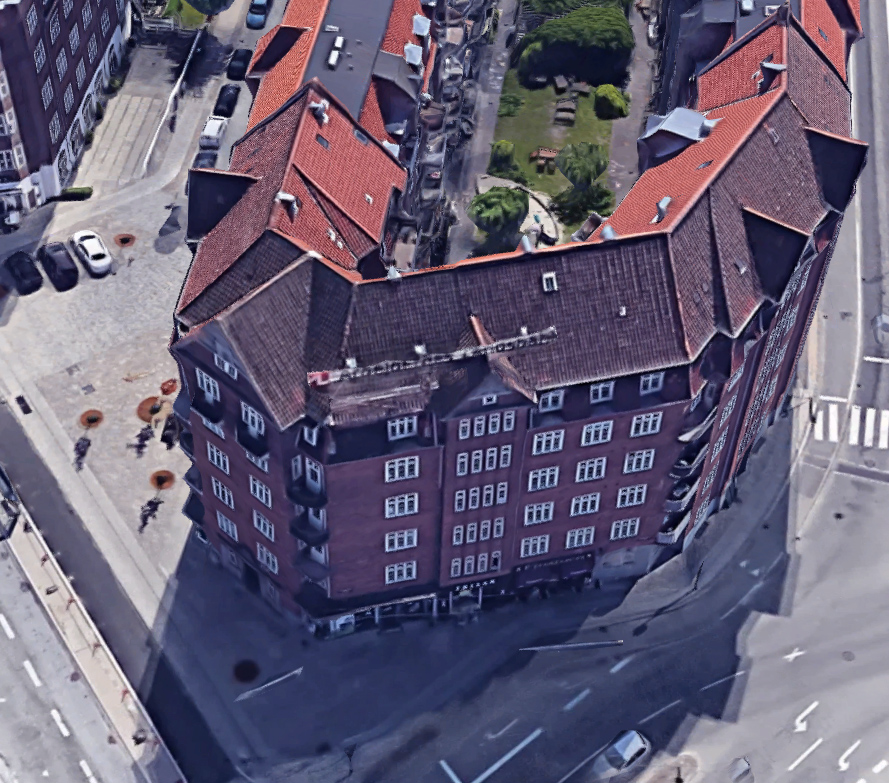 Demonstrationsprojekt med lydruder - Luftfoto mod Christmas Møllers Plads